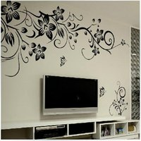 Wholesale Black Flowers Wall Stickers - 027S 80*100cm Black Flower Vine Wall stickers home decor large paper flowers living room bedroom wall decor sticker on the wallpaper