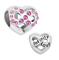 Wholesale Metal Infinity Charm - Ladies jewelry pink crystal heart infinity love European bead big hole charms bracelets necklace for Pandora
