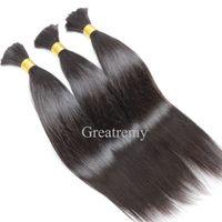 Wholesale silky braiding hair online - 8A Brazilian Human Hair Bulk For Hair Extensions Silky Straight inch Brazilian Braiding Hair Greatremy Drop Shipping