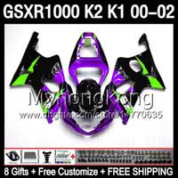 Wholesale Gsxr Fairing Purple - gloss purple 8gifts Body For SUZUKI GSXR1000 00 01 02 K1 GSX R1000 4MY126 GSX-R1000 00-02 K2 GSXR 1000 2000 2001 2002 purple black Fairing