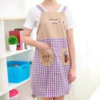 Wholesale Sleeveless Aprons - Sleeveless shoulder belt home apron cute fashion anti-fouling anti-oil hot sale Aprons