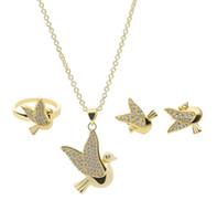 conjunto de colar de noiva coração tiara venda por atacado-Luxuoso Pássaro Conjuntos de Jóias Para As Mulheres Moda Colar De Cristal Brincos Anéis Set 18 k Banhado A Ouro Jóias Noiva 10SET MIN MINDA 61152213