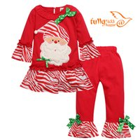 Wholesale Chinese Children Garments - 2017 Fashion Child Garment Girls Boutique Outfits Ruffle Pants Toddler Girl Christmas Outfit Kid Birthday Baby Girls Fall Clothing