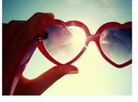 Wholesale Heart Shaped Lolita Sunglasses - High Retro Vintage Lolita Heart Shaped Aviator Sunglasses Plastic Frame Women Sunglasses