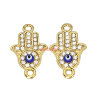 Wholesale Hamsa Connectors - 6ps Rose Gold Plated Fatima Hamsa Hand Evil Eye Connectors fit Jewelry Making Findings Accessories DIY Craft 24x15mm