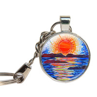 Wholesale Tiles Keys - Mosaic Wall Tiles Keychain Glass Cabochon Colorful Geometry Key Chains Glass Dome Mosaic Tiles Key Ring Jewelry Key Holder
