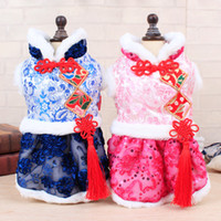 Wholesale Chinese Costume Cloth - Winter Beautiful Classic Chinese Knot Dress for Small Medium Dog Corduroy Pets Tang Costume Style Cloth 20pcs lot Drop Shipping