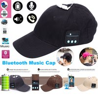 Wholesale music baseball - Bluetooth music earphone hat outdoor baseball earphones cap wireless Bluetooth headset with speaker 6 Colors 30 PCS YYA574