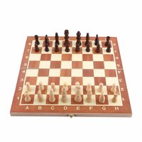 Wholesale International Chess - 1 Set Portable Wooden Chess Set Backgammon Board Games Chessboard International Chess For Party Family Friend Entertainment