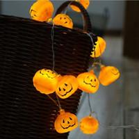 ingrosso luci d'arco arancione-Halloween LED Pumpkin LED String Light Orange Pumpkin Lights Halloween Holiday Decoration Lanterne Luce 1M 10 luci batteria design HQ017