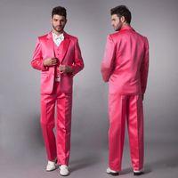 vestido de casamento rosa menino venda por atacado-Venda quente Rosa Novo Noivo Smoking Cetim Material Padrinhos Homens Ternos De Casamento Menino Vestido Formal (Jacket + Pants + Tie + Vest)