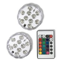 10LED RGB Sumergible Luz LED Control remoto Multicolor Impermeable Luces LED para iluminar floreros Decoración de la pieza central de la boda
