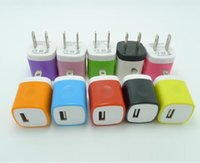 Wholesale Iphone 4s Wall Charger Adapter - Candy Colorful US Plug USB Power Wall Home Travel Charger Adapter For iPhone 6 6Plus 5 5S 4 4S Smartphone