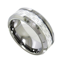 Wholesale Tungsten Rings 8mm - 8mm High Polish Tungsten Carbide Ring Silver Inlaied fashion jewelry finger ring for men