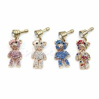 Wholesale Cute Mobile Phone Plug - Wholesale-Cute Bear 3.5mm Anti Dust Earphone Plug Stopper Cap Jack For Mobile Phone