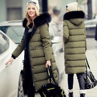 Wholesale Duck Cover - Top Quality 2017 Long Solid Winter White duck down Parka Coat Women Brand Real Fur Thick Hooded Parkas