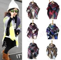 Wholesale Winter Scarfs Fashion Style - Kids Plaid Scarves Baby Striped Tassels Scarf Kids Tartan Scarf Wraps Autumn Winter Baby Scarf Shawl Fashion Warm Neckerchief 11 styles D914