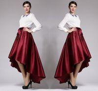 senhora escura venda por atacado-Borgonha tafetá alto baixo saias 2017 nova moda lady saia vermelho escuro outono inverno mulheres saias vestidos de festa formal barato