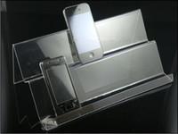 handy-display regal großhandel-Großhandel 2016 meistverkauften Stil Doppelschichten lange Regal Clear Acrylic Mobile Handy-Ständer Halter Racks Mobile Basis 50pcs / lot