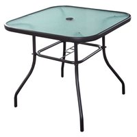 Tempered Glass square patio table - 32 quot Patio Square Bar Dining Table Glass Deck Outdoor Furniture Garden Pool