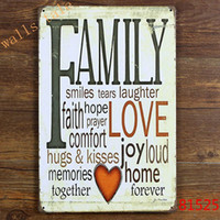Wholesale Retro FAMILY Tin Sign Metal Plaque Vintage Home Wall Decor Warmly decorated for home large size x30cm