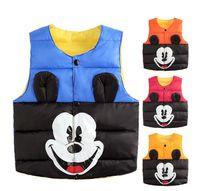Wholesale Wholesale Waistcoats - cartoon Mickey Mouse Kids Girls Vests Children's Down Cotton Warm Vest Baby Girl Boy Sweet Solid Waistcoat