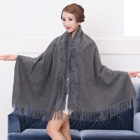 Wholesale Ladies Magic Scarves - Factory Sale 2017 Fashion Multifunction Magic Lady Winter Shawls Scarf with Real Genuine Rabbit Fur Collar Pashmina Stole Gifts