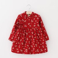 Wholesale Christmas Tutus Baby - Kids Girls Winter Dress Baby Girl Floral Print Party Dresses Infant Princess Full Sleeve TuTu Dress 2017 Children Christmas Boutique Clothes