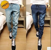 Wholesale Jeans Boys Feet - Fashion 2016 Teenagers Leg Foot Slim Fit Denim Jeans Men Drawstring Ankle Banded Pants Boys Hip Hop Harem Pants 28-34 Bottoms