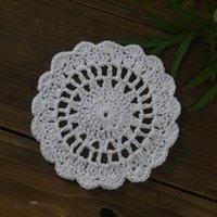 """Wholesale Cm Pictures - Wholesale- Handmade Crocheted Doilies round Coasters 4"""" 10 cm White Wedding Home Decoration Physical picture 100%"""