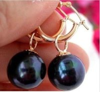 PRETO PRETO 10-11MM AAA TAHITIAN PEARL DANGLE EARRING 14K AMARELO OURO