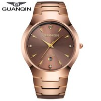 Wholesale Tungsten Watches For Men - Luxury Brand GUANQIN Men's Tungsten Steel Quartz Watches Fashion Silver Rose Gold Watches With Calendar for Man Women