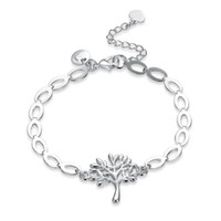 Wholesale life colour - Fashion Tree of Life Charms Bracelet 925 Link Chain Silver Colour Life Tree Leaf Pendant Bangle Bracelet Gift Ladies Jewelry