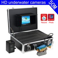 Wholesale Tft Finder - SY801-50 Fish Shape Underwater Fishing Camera 50Meters Depth Cable 7Inch TFT LCD Monitor DVR Recording Waterproof Fish Finder ann