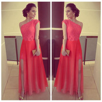 Wholesale Split Front Overlay - One Cap Shoulder Sleeveless Sheath Evening Dresses Lace Water Melon Chiffon Overlay High Split Cheap Simple Prom Party Gowns 2016 Plus Size