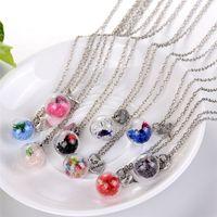 Wholesale Crystal Bubble Pendant - 2018 Crystal Flower Gemini Heart Drift wishing Bottle Drift Bottle Bubble Pendants Necklaces for Women dry flower glass necklace 161549