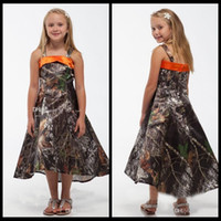 Wholesale Toddler High Low Dresses - New Fashion Spaghetti A Line Realtree Camo Flower Girls Dresses High Low Camouflage Formal Wear Kids Children Toddler Pageant Party Gowns