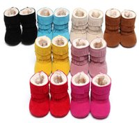 Wholesale Red Moccasin Boots - Newest Winter 3 Layer Tassels Baby Moccasins Fleece Suede Leather Fringed Boots Infant Toddler Soft Bottom Thick Cotton Boots