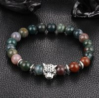 Wholesale Yuxi Fashion - Fashion natural Spar Manao Bi Yuxi seven color crystal bracelets prayer beads Tibetan silver lion leopard head bracelet jewelry