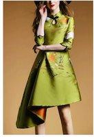 Wholesale New Elegant Cheongsam - 2016 New Fashion Cheongsam Retro European Style Woman Jacquard Sleeve Irregular Printing Flower Elegant Cheongsam Dress