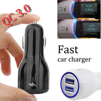 Wholesale 12v Usb 3a - high quality QC 3.0 12V 1.2A 9v 1.8A 5V 3A dual usb fast car charger power adapter phone charger for samsung galaxy s8 plus iphone x