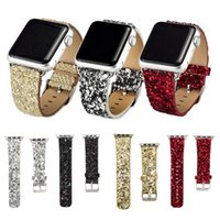 Wholesale Bling Buckle Bracelet - Bling Glitter Powder Leather Watch Band for Apple Watch 38 42mm Wristwatch Bracelet for iwatch Series 1 2 Christmas Shiny
