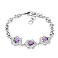 charme violeta venda por atacado-De bom gosto 18k banhado a ouro branco forma de ameixa definir violeta brilhante zircon charme pulseira para as mulheres partido pulseira