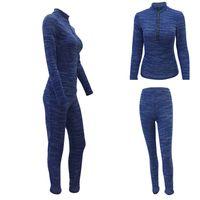 Wholesale Wholesale Long Track Suit - tight elastic track suit women two piece outfits track suits Crop Top Clothing set jogging suits Tracksuits fashion cotton z61