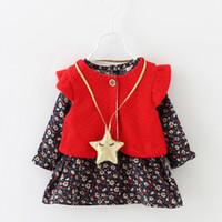 Wholesale Two Piece Coat Dress Girls - 2016 Autumn Children Dresses Girl Long Sleeve Dress+Knit Vest Coat Two Piece Sets Infant Baby Pure Cotton Dress
