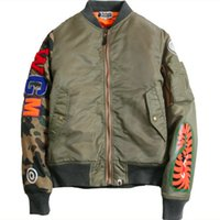 Wholesale Shark Pattern Japanese Winter Air Force Flight Jacket Pilot Youth Casual Bomber Coat Ma1 Plus Size M XL Thick Stand Zippers
