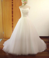 Wholesale Strapless Tulle Bridal Dresses - Feather Strapless Wedding Dresses 2017 A Line Sweep Train Tulle Lace Up Bridal Gowns Plus Size Custom Made Wedding Dress SA3