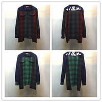 Wholesale Men S Double Collar Shirts - OFF WHITE Wholesale-Side Gold Zipper Red Plaid Shirt Mens Fashion Streetwear Clothes Hip Hop Tyga Men Long sleeve Shirts Tartan Casual Men C