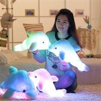 Wholesale Cushion Music - LED Music Plush Toy 45cm Colorful Dolphin Plush Doll Toy Luminous Plush Stuffed Flashing Cushion Pillow With LED Light Party Birthday Gift