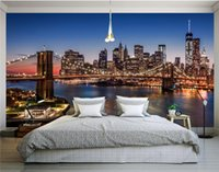 Wholesale Vintage Brooklyn - Customize Size Mural Wallpaper Background Brooklyn Bridge At Night Restaurant Home Decor Wall Covering Living Room Wall Painting